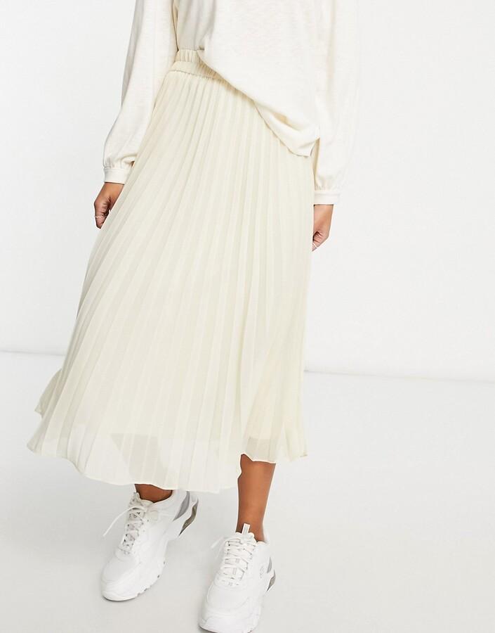 Monki Laura pleated midi skirt in cream