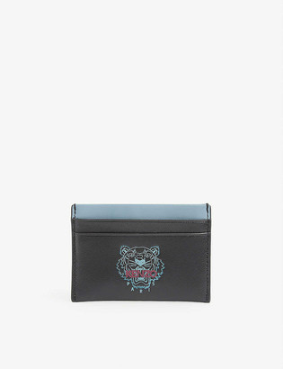 Kenzo Logo-embroidered four-slot leather card holder