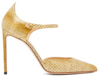 Francesco Russo Ayers-snake Mary-jane Stiletto Pumps - Yellow
