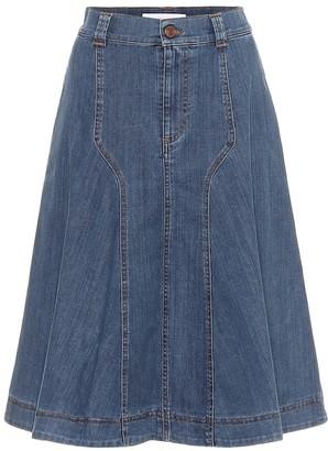 See by Chloe High-rise denim midi skirt