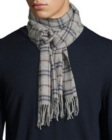 Neiman Marcus Merino Wool Plaid-Print Boxed Scarf, Gray Multi