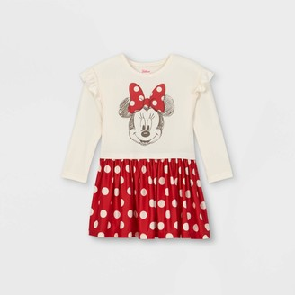 Disney Toddler Girls' Minnie Mouse Knit Long Sleeve Dress -