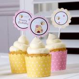 Bumble Bee Feather Grey Parties Cupcake Toppers