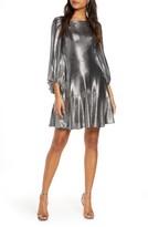 Eliza J Long Sleeve Metallic Jersey Cocktail Dress