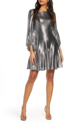 Eliza J Long Sleeve Metallic Jersey Cocktail Dress