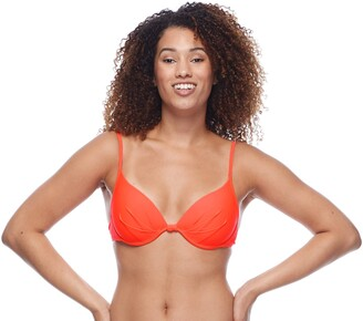 Body Glove Women's Smoothies Greta Solid Molded Cup Push Up Underwire Bikini Top Swimsuit