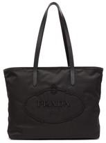 Prada Logo-embroidered Nylon Tote Bag - Womens - Black