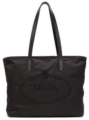 Prada Logo-embroidered Nylon Tote Bag - Black