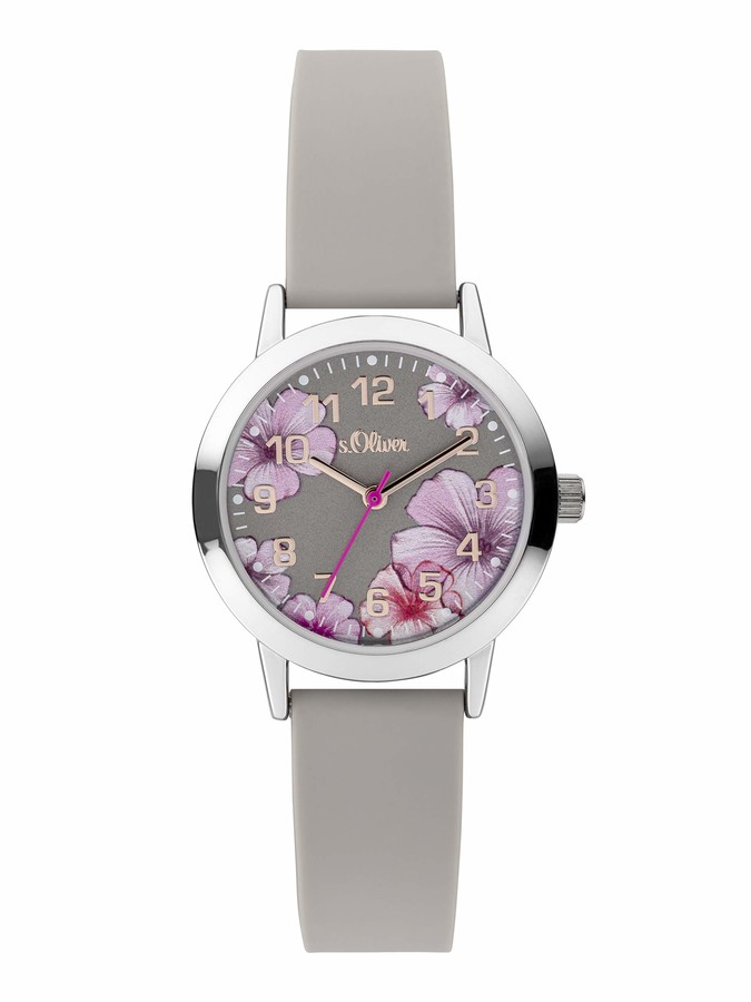 S'Oliver Girls Analogue Quartz Watch with Silicone Strap SO-3929-PQ
