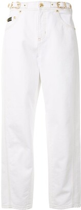 Versace Jeans Couture Buckle Cropped High-Waisted Jeans