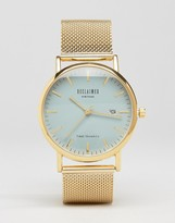 Reclaimed Vintage Gold Mesh Watch With Gray Dial