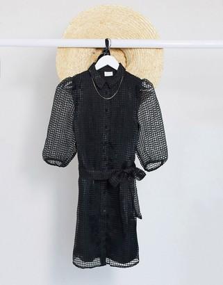Vila organza shirt dress in black