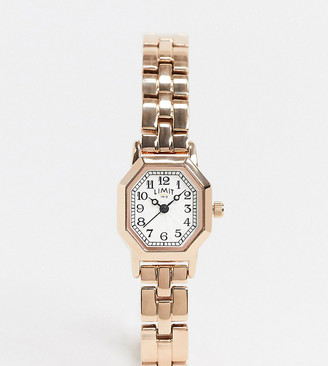 Limit Octagonal bracelet watch in rose gold exclusive to ASOS