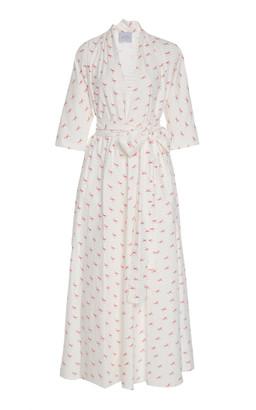 Luisa Beccaria Tie-Front Printed Cotton-Poplin Midi Dress