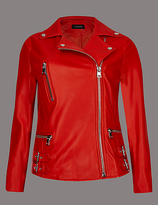 Autograph Leather Biker Coat