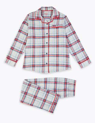 Marks and Spencer 2 Piece Woven Cotton Grey Check Pyjama Set (1-16 Years)