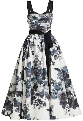 Carolina Herrera Floral Bow A-Line Cocktail Dress