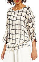 Daniel Cremieux Kelly Boat Neck 3/4 Sleeve Plaid Blouse