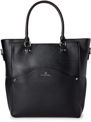 Celine Dion Black Faux Saffiano Leather Large Tote