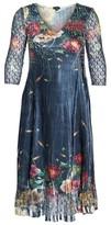 Komarov Plus Size Women's Floral V-Neck Charmeuse Midi Dress