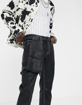 Asos DESIGN faux leather leg harness bag in black pebble grain