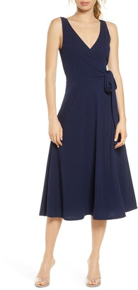 Charles Henry Faux Wrap Rib Midi Dress