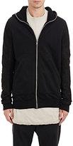 Rick Owens Men's Leather-Sleeve Fleece Hoodie-BLACK
