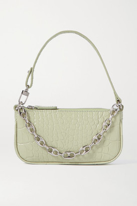 BY FAR Rachel Mini Chain-embellished Croc-effect Leather Tote - Mint
