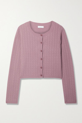 SABLYN Cleo Cable-knit Cashmere Cardigan - Antique rose