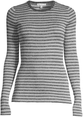 Michael Kors Stripe Long-Sleeve Rib-Knit Sweater