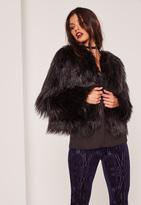 Missguided Shaggy Faux Fur Coat Black