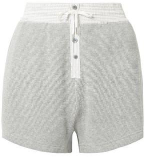 Alexander Wang Striped Poplin-trimmed Waffle-knit Cotton Shorts
