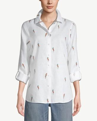 No Iron Linen Parrot-Print Roll-Tab Sleeve Shirt