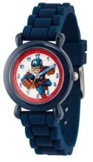 EWatchFactory Boy's Marvel's Super Hero Adventure Captain America Blue Plastic Time Teacher Strap Watch 32mm