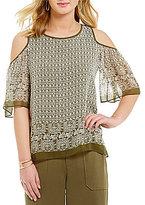 M.S.S.P. Round Neck Short Sleeve Cold Shoulder Fan Print Blouse