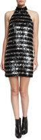 Michael Kors Fringe Striped Halter Mini Dress, Black/White