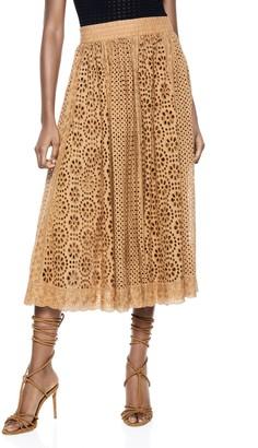 Alice + Olivia Melony Deep Pleated Midi Skirt