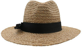 Morgan & Taylor Raffia Fedora With Black Band Summer Hats