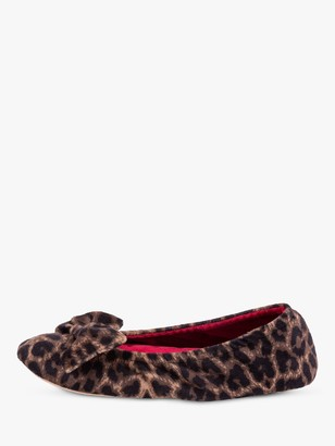 totes Velour Bow Leopard Ballet Slippers, Multi