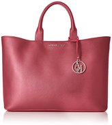 Armani Jeans Eco Saffiano East West Tote with Pouch and Contrast Trim
