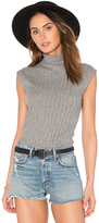 Enza Costa Cashmere Sleeveless Turtleneck Tank in Gray