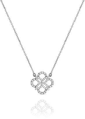 Perle de Lune Daisy Diamond Necklace - 18K White Gold