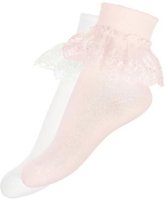 Monsoon Girls 2 Pk Lace Socks - Pink