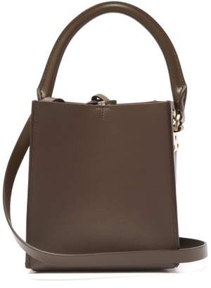 Sophie Hulme Albion Cube Nano Leather Bucket Bag - Womens - Dark Brown