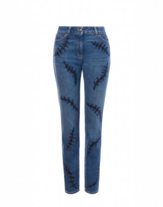 Moschino Denim Scars Trousers Woman Blue Size 38 It - (4 Us)