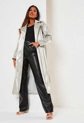 Missguided Metallic Belted Trench Coat