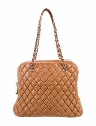 Chanel New Bubble Quilt Bowler Bag Tan