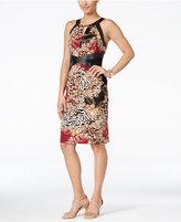 Thalia Sodi Printed Faux-Leather-Trim Sheath Dress, Only at Macy's
