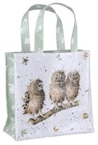 "Pimpernel 25 x 25.5 x 11 cm Small ""You First (Owls)"" PVC Coated Wrendale Shopping Bag, Multi-Colour"