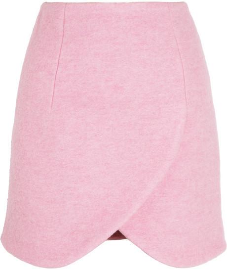Carven Wrap-effect brushed wool-blend mini skirt